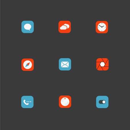 Color interface icons collection. Design elements Vector
