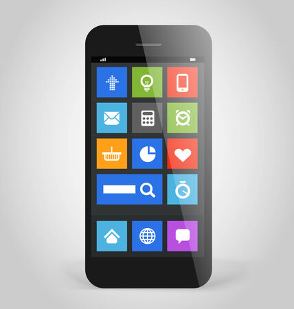 Modern smartphone with tile interface color icons. Design elements Vector