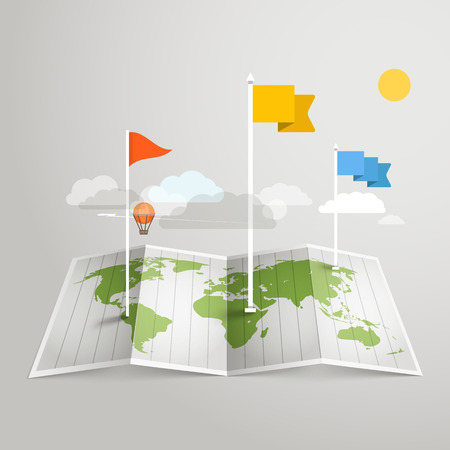 World map with different marks. Design elements Vector