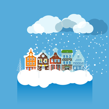 greating card: Vintage buildings with snowfall on Winter