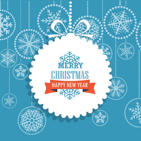 Christmas greeting card with snowflakes on background. Merry Christmas and Hapy New Year Vector