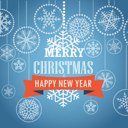 Christmas greeting card with snowflakes on background. Merry Christmas and Happy New Year Vector