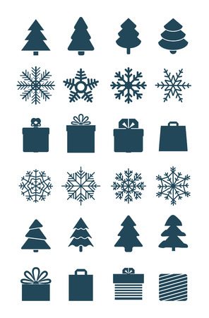 white greeting: Christmas season vector elements collection isolated on white. Greeting card elements
