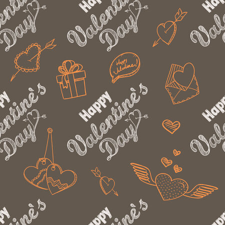 february 14th: 14th February seamless pattern. Happy Valentine`s Day elements