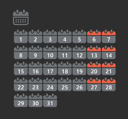 Different styles of calendar web icons collection Vector