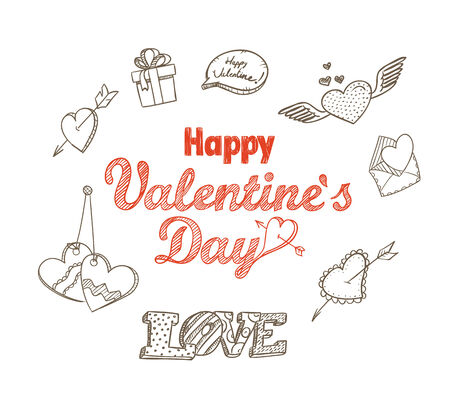 heart sketch: 14th February collection. Happy Valentine`s Day elements