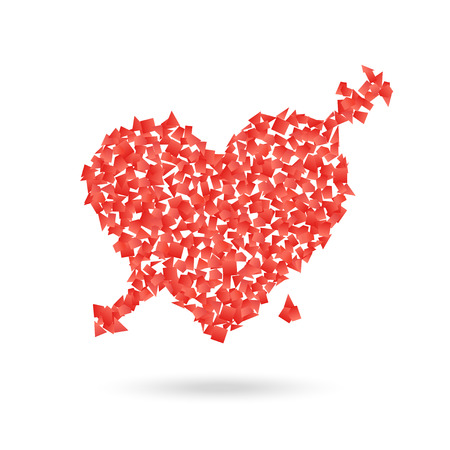 Abstract red heart with the arrow. Valentines illustration Vector