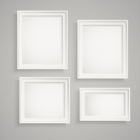 canvas on wall: Different picture frames on the wall. Place your text
