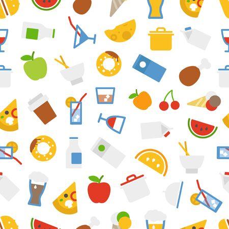 whisky glass: Food icons seamless background. Flat design elements Illustration