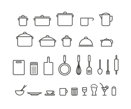 drink tools: Kitchen tools silhouette icons collection. Design elements Illustration
