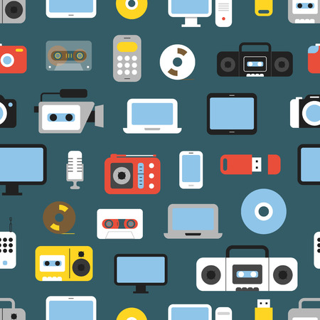 Different media devices color seamless background. Design elements Vector