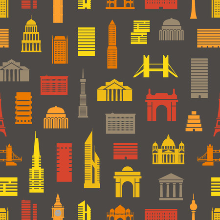goverment: Modern city silhouettes seamless pattern