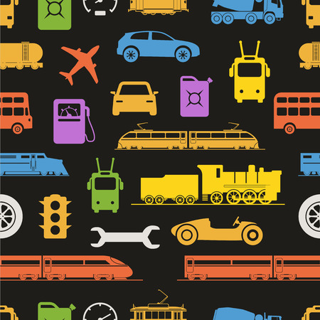 Vintage and modern vehicle color silhouettes seamless background Vector