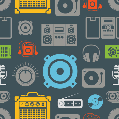 media player: Audio equipment icons color seamless pattern