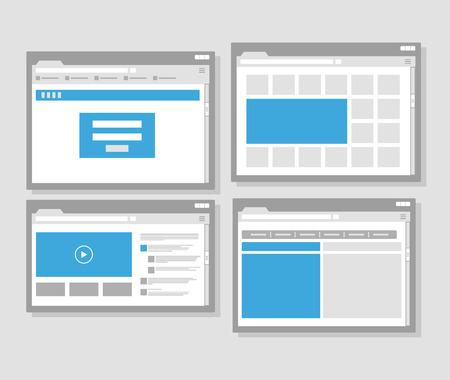 web site: web site page templates collection. Flat design