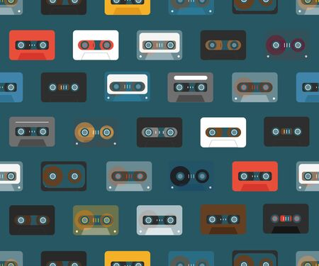 recordable: Vintage analogue music recordable cassettes. Seamless background