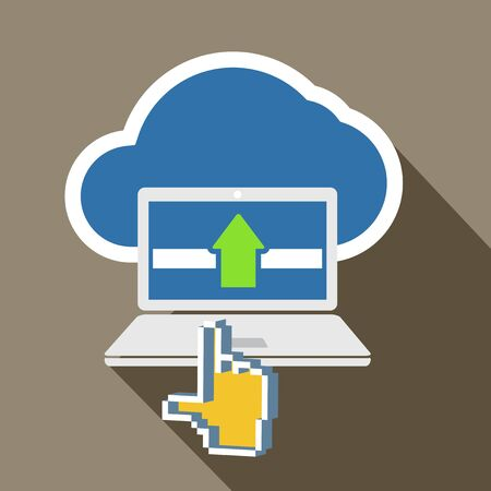 Modern laptop and cloud technology abstract illustration Vector