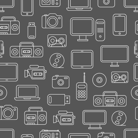 storage device: Different media devices seamless pattern Illustration
