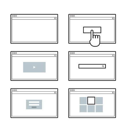 web browser: Opened browser window template. Past your content into it. web site page templates