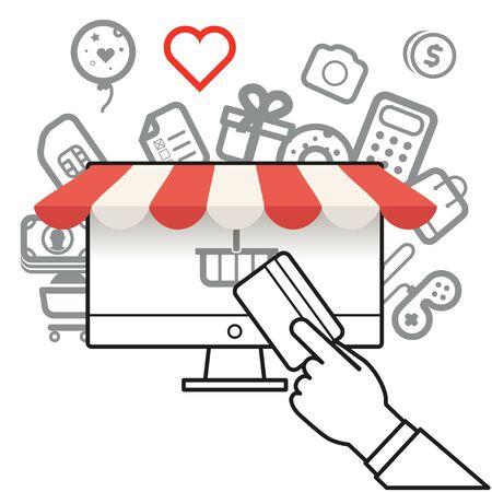 internet connection: Shopping via internet connection. Simle line design illustration