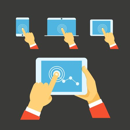 using smartphone: Using modern digital gadgets. Flat iillustration set