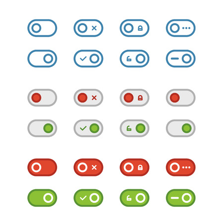 Different flat design sliders collection isolated on white. Web interface elements Vector