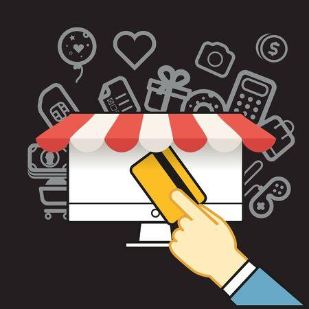 via: Shopping via internet connection. Simle line design illustration