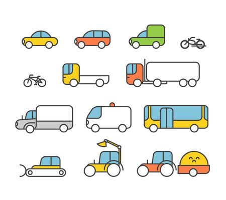 Different transport silhouette icons collection. Design elements Vector