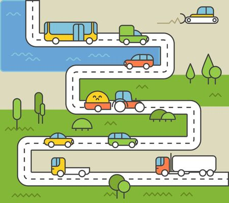 tree grass: Different vehicle on a road. City life minimalism illustration concept