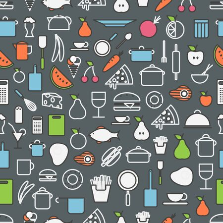 kitchen tools: Kitchen tools and meal silhouette icons. Seamless pattern