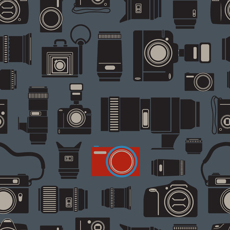 technics: Modern and retro photo technics seamless background Illustration