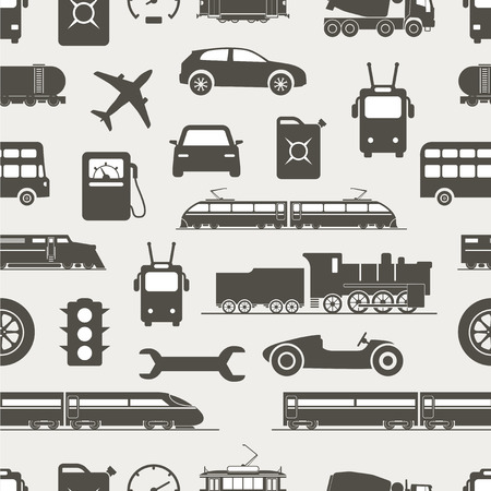 Vintage and modern vehicle silhouettes seamless background Vector