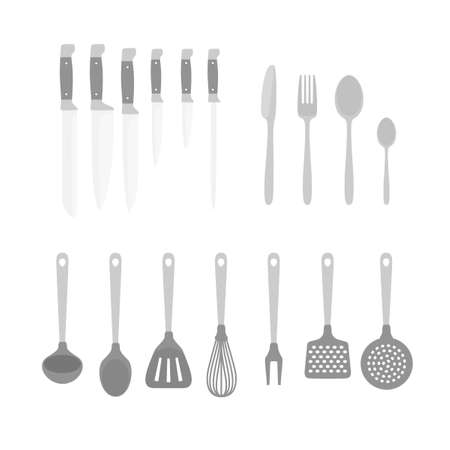 accessory: Different kitchen accessory isolated on white. Design elements