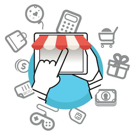 via: Shopping via internet connection. Simple line design illustration