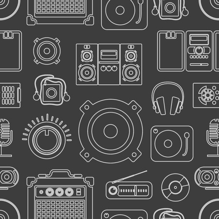 Audio equipment icons collection Illustration
