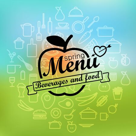 bar ware: Spring menu label design. Vector lineart concept Illustration