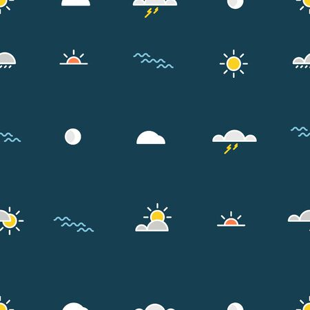 nature silhouette: Different lineart nature silhouette icons seamless pattern