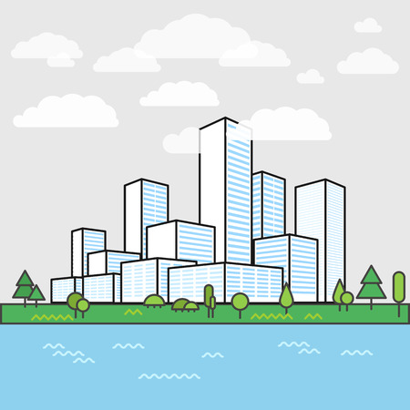 district': Modern city district. Buildings in perspective. Minimalism illustration concept