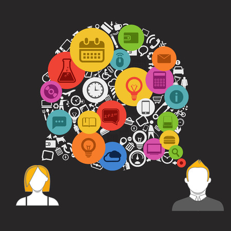 Two talking people with abstract speech cloud of different icons