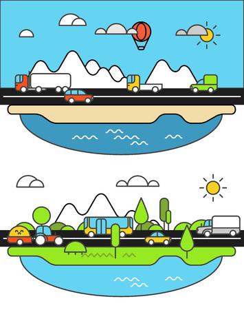 도로에 다른 차량. 도시 생활 미니멀리즘 일러스트레이션 개념