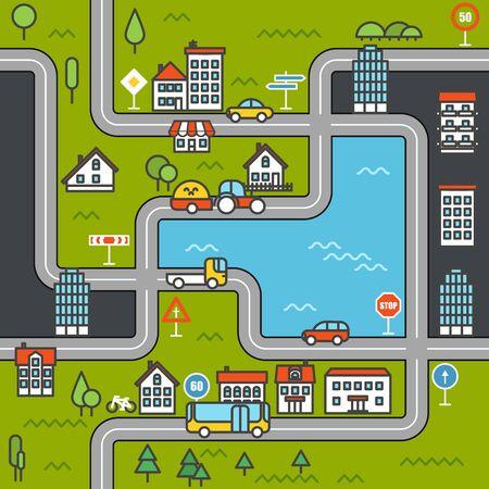 City life minimalism illustration concept Vector