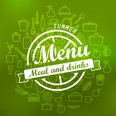 lineart: Summer menu label design. Vector lineart concept Illustration