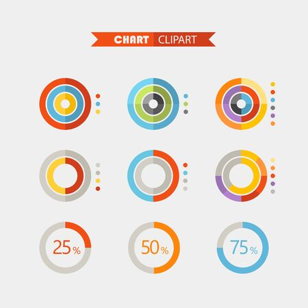 color chart: Graphic business ratings and charts .Flat infographic elements clipart Illustration
