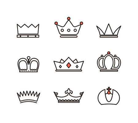 luxo: Diferente coleção coroas. Linha simples ilustração do projeto Ilustração