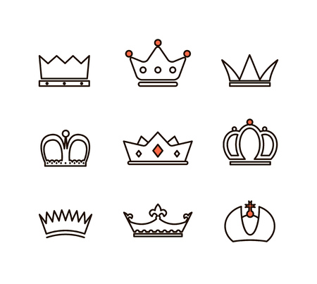 Different crowns collection. Simple line design illustration Vector