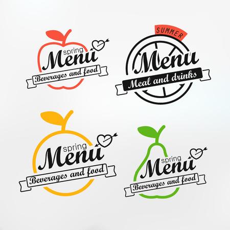 round logo: Different menu labels design set. Vector lineart concept Illustration
