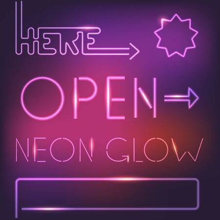 Glowing neon elements Vector