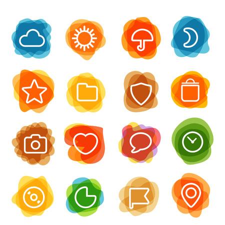 interface web: Blanc interface web ic�nes clip-art sur des transferts de couleur. Les �l�ments de conception