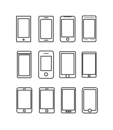 Abstract different mobile gadgets collection. Design elements Vector