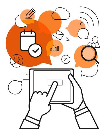 via: Communicating via modern tablet gadget. Simle line design illustration Illustration